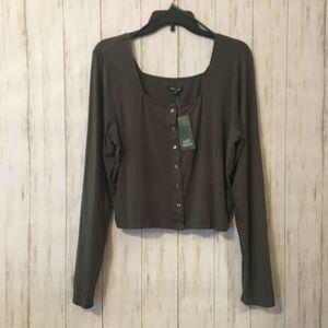 olive green ribbed crop top long sleeve
